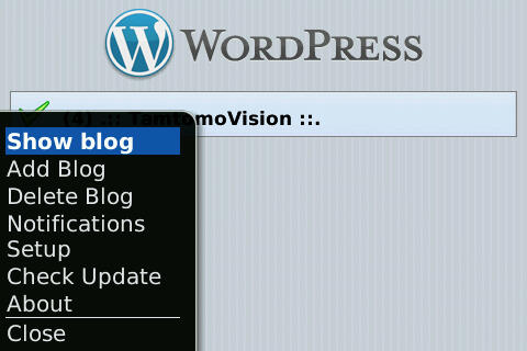 Menu WordPress for BlackBerry 1.1